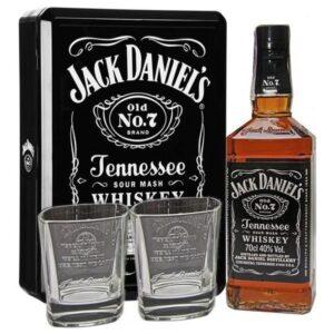 J. Daniels + 2 стакана жестяная упаковка 0.75L